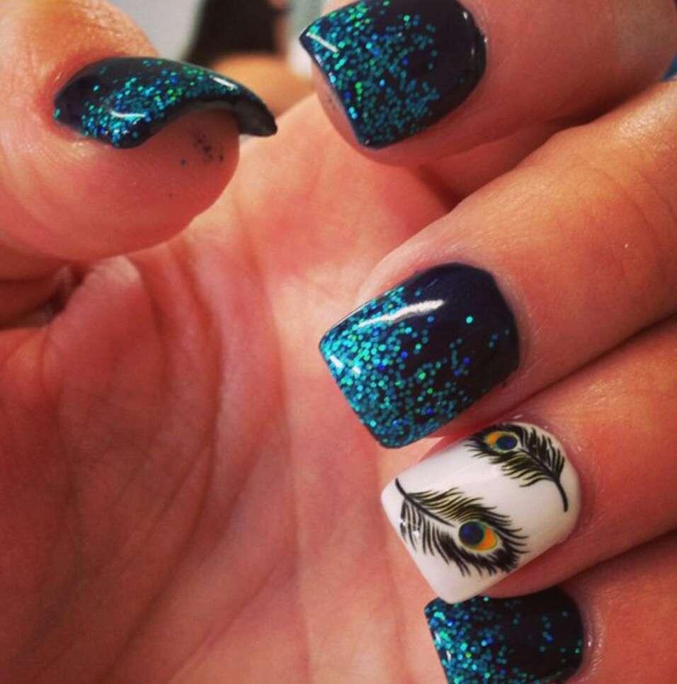 Дизайн ногти перо павлина фото