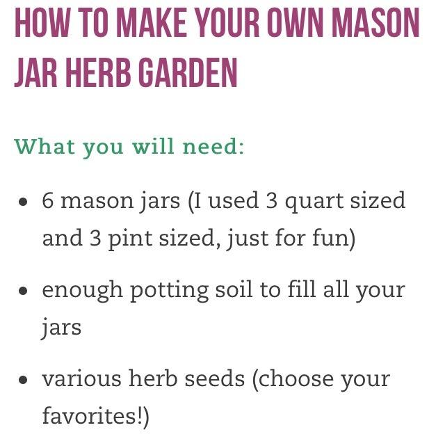Make Your Own Mason Jar Herb Garden Fresh Herbs Every