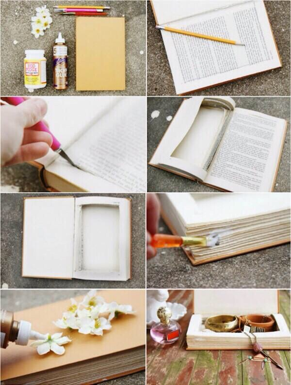 Diy turn an old book into a jewelry box musely - Diy uses for old books ...