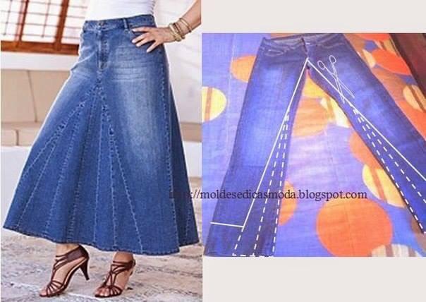 Сшить юбку из старой джинсовой юбки 599