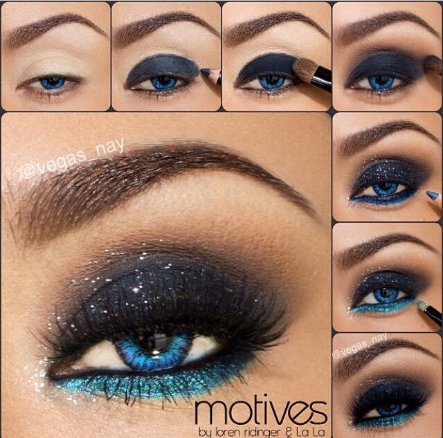 Макияж с черно голубыми тенями