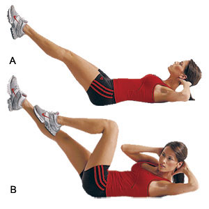 Bicycle crunches  3 reps/ 12 sets