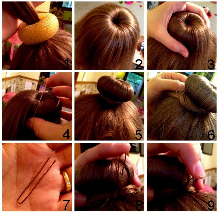 Как сделать шишку из волос с помощью резинки пошаговая инструкция