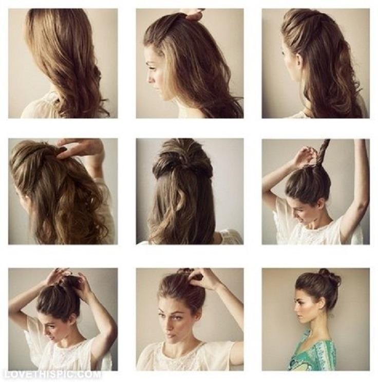 Как сделать небрежную прическу на средние волосы