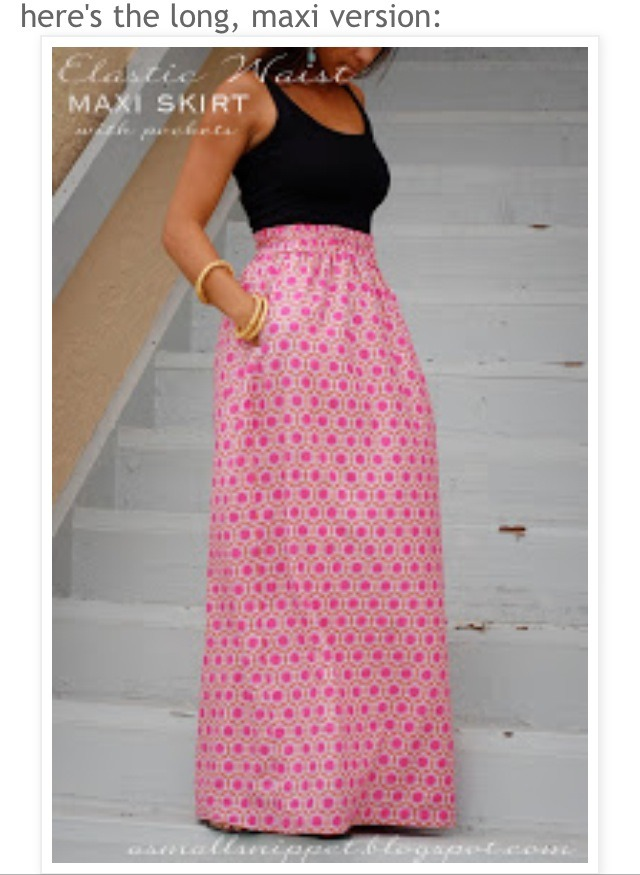 diy elastic waist maxi skirt with pockets musely