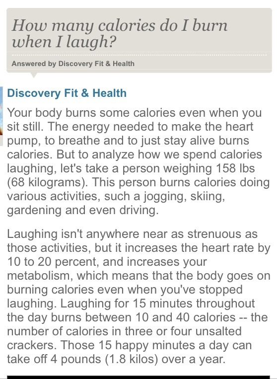 How Many Calories Do You Burn While Laughing Please