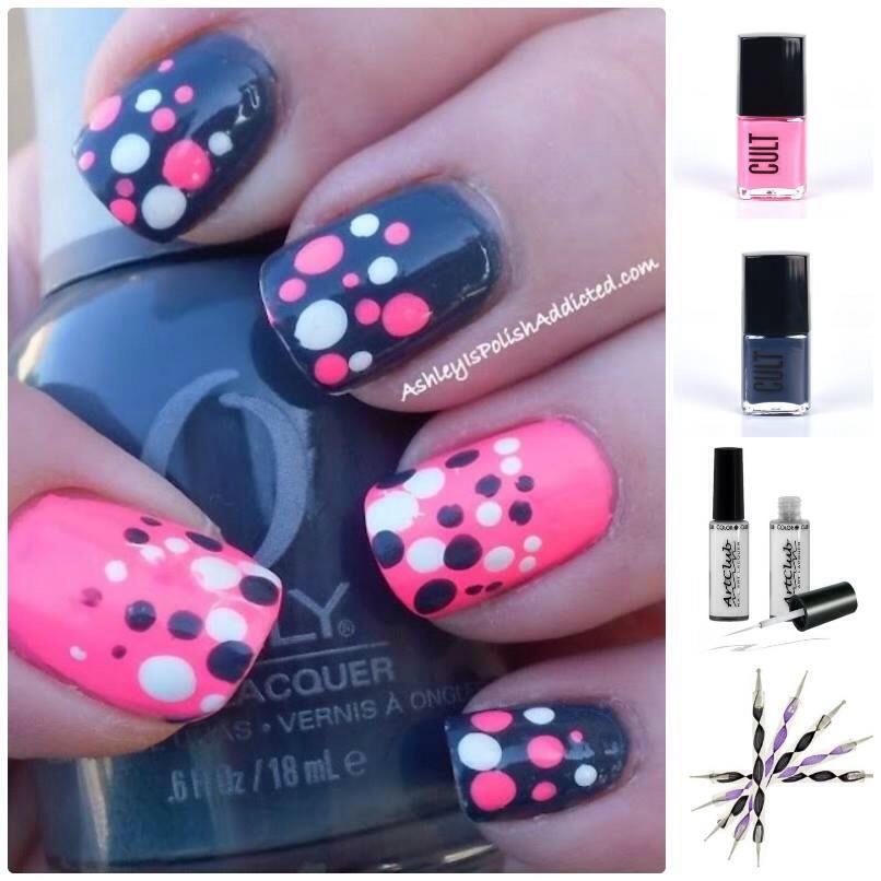 Дизайн ногтей розовым и синим лаками