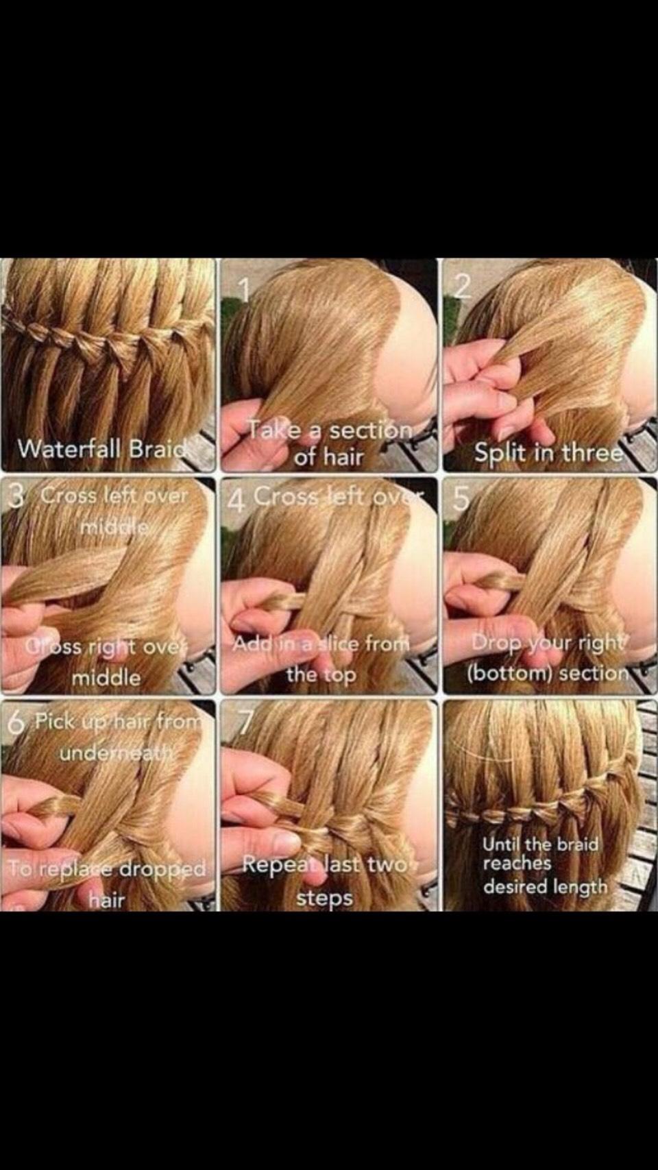 Плетение кос французский водопад схема фото