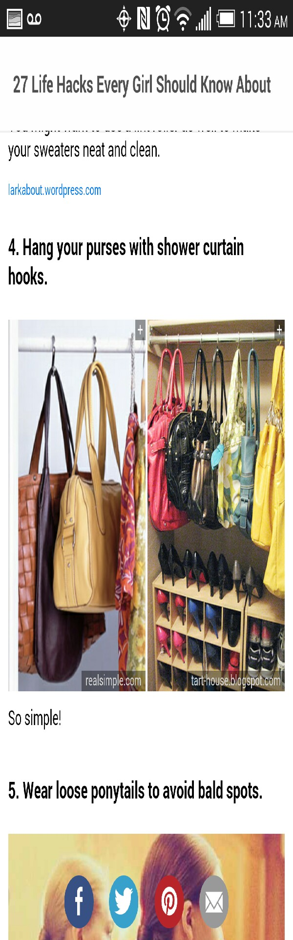 Hang purses with shower curtain hooks musely for Hooks to hang purses