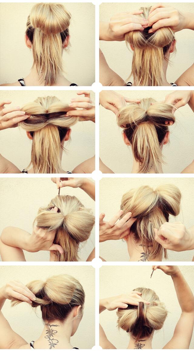 Прическа на длинные волосы своими руками бант