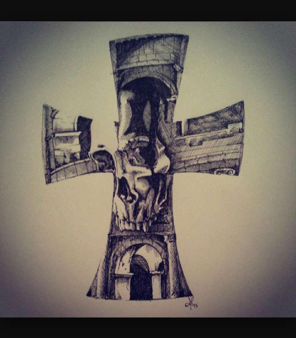 Тату череп с крестом