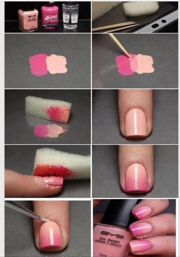 Как нарисовать ногти двумя цветами
