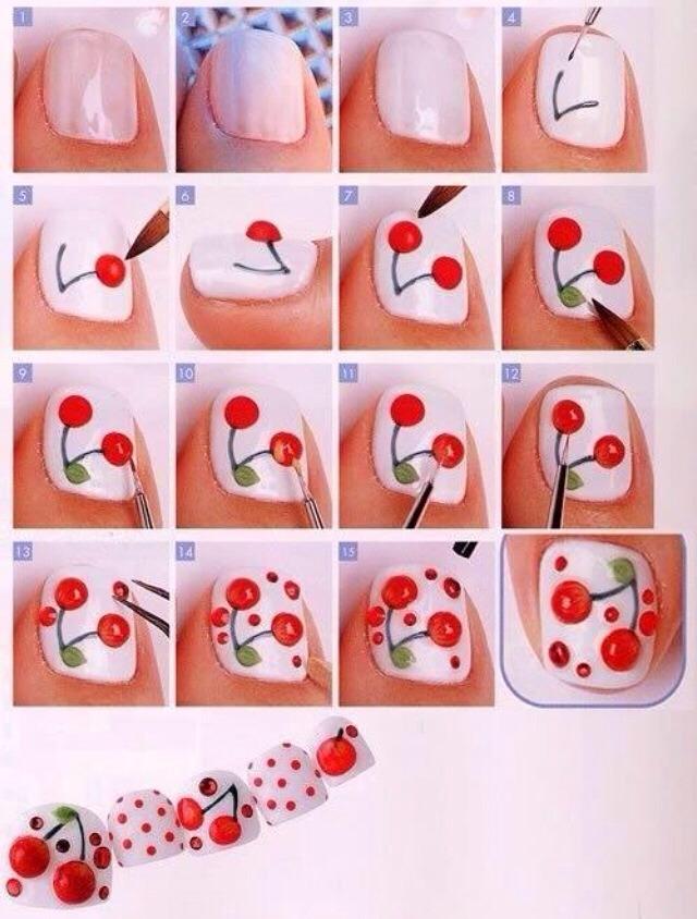 Рисунки на ногтях вишенки