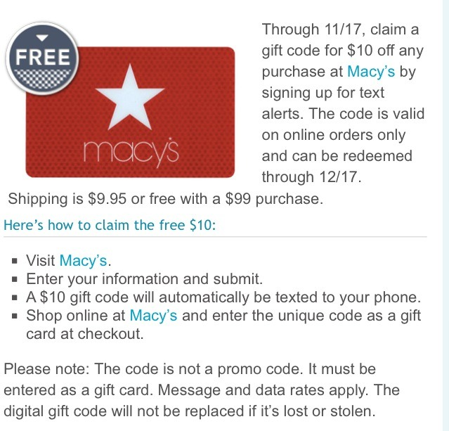 Free $10 Macys Gift Card For Online Shoppers! Valid