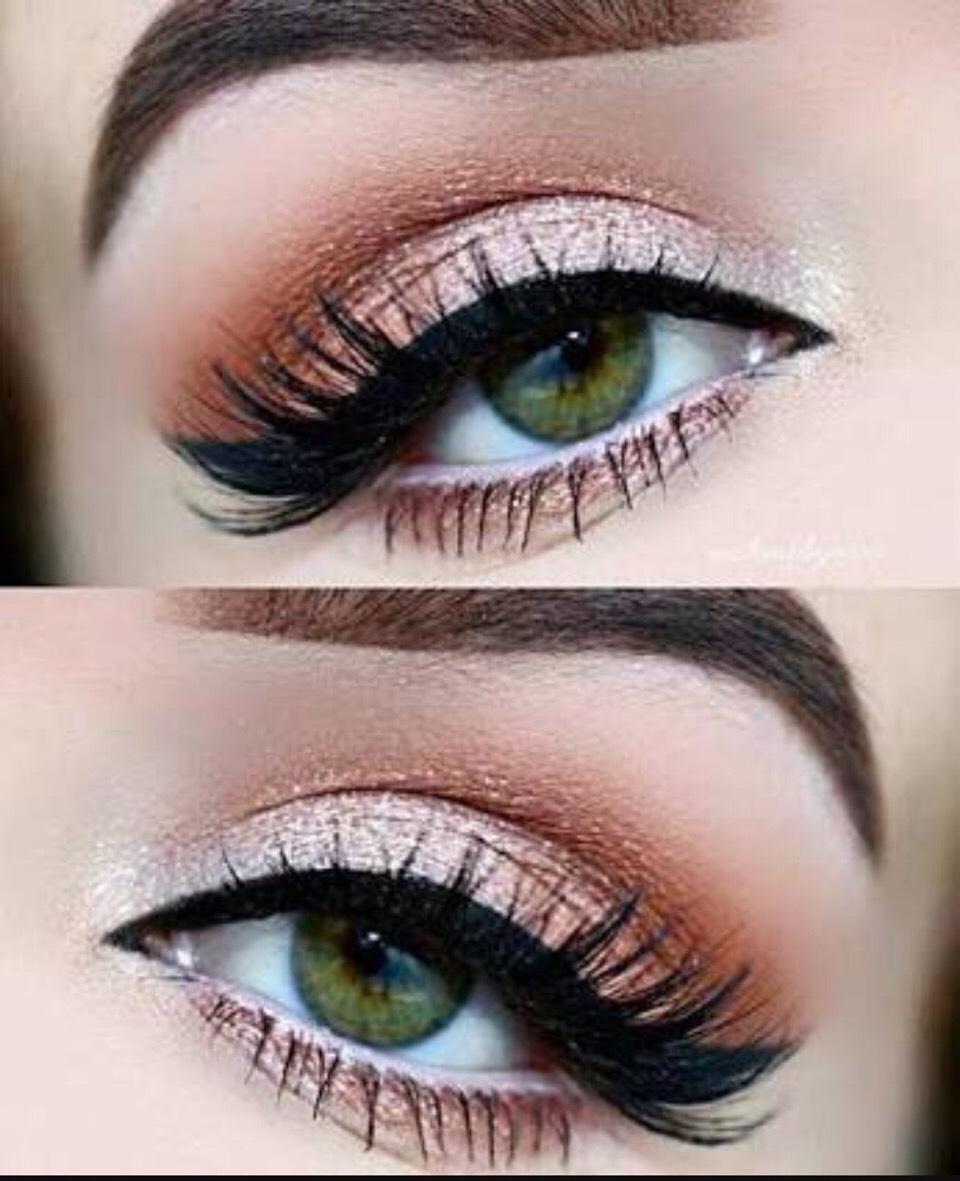 Макияж для серо-зелёных глаз и темных волос фото