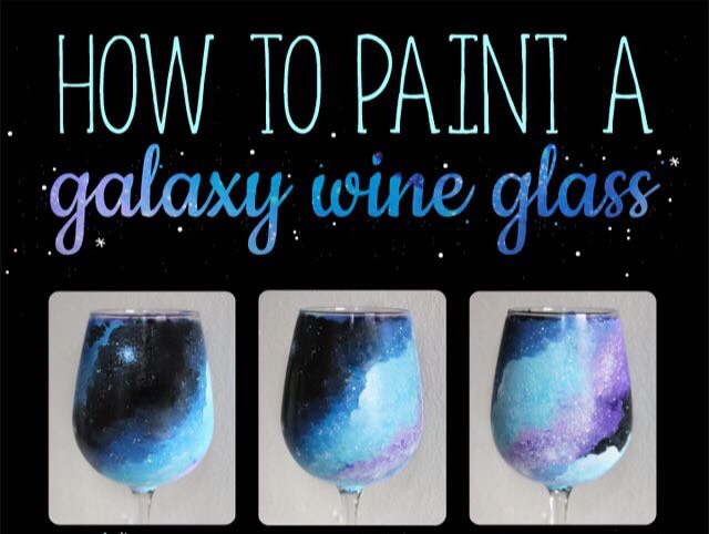 Diy how to paint a galaxy wine glass musely for How to paint galaxy