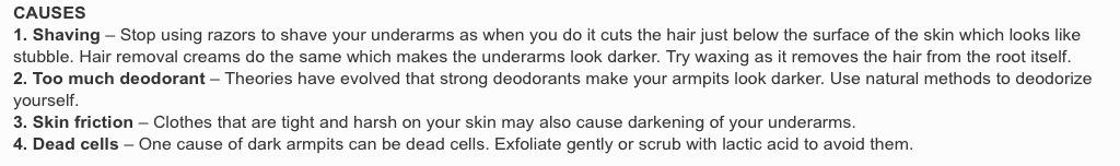 how to get rid of dark armpits naturally