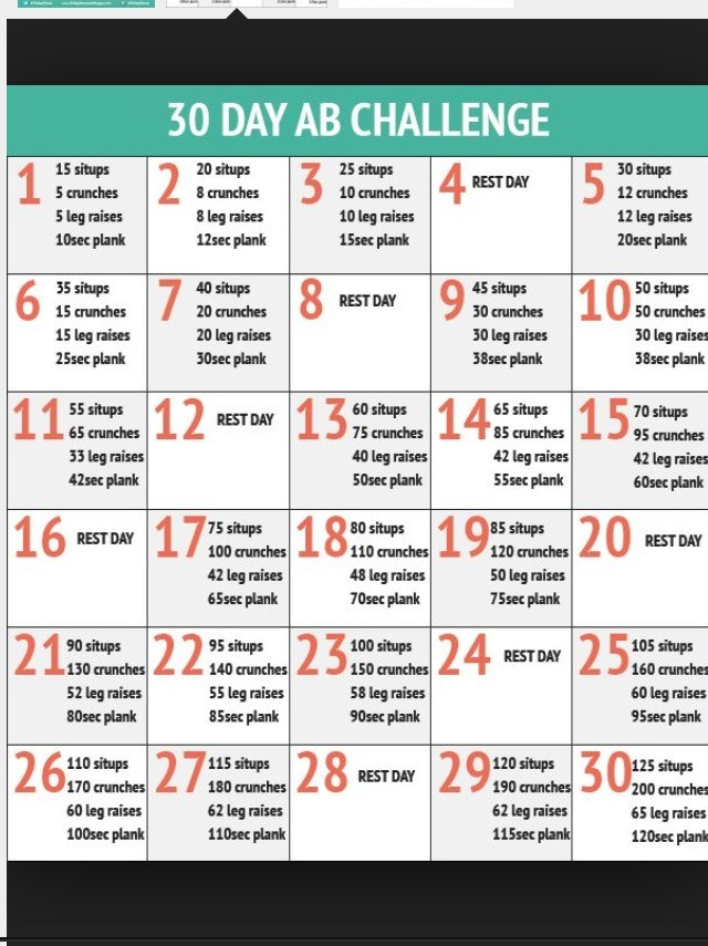 30 Day Stomach Workout Challenge | sport1stfuture org