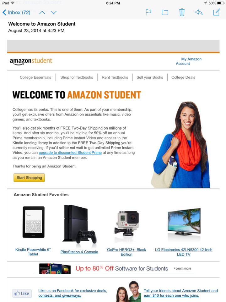 free amazon prime for college students musely