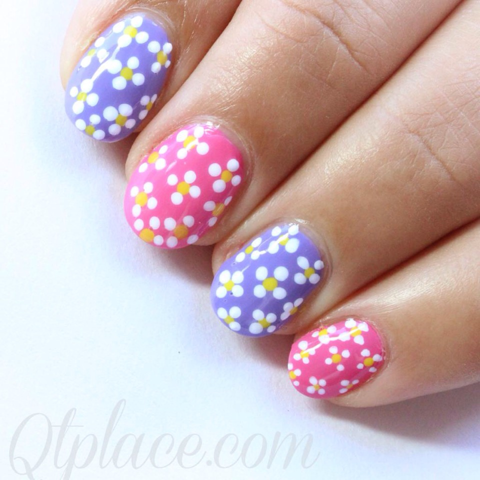 Маникюр цветочки на ногтях