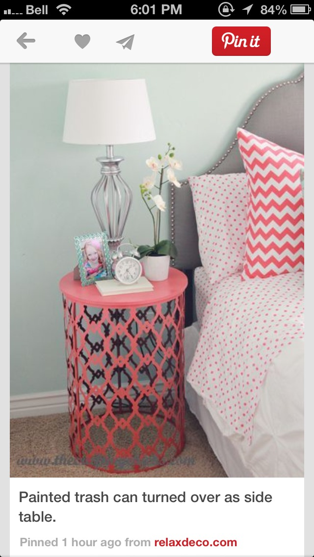 painted trash can turned over as a side table musely