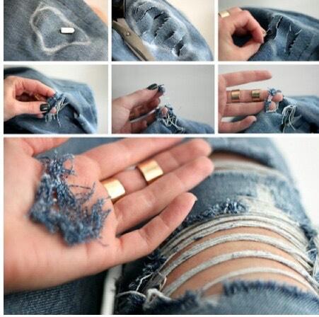 Как сделать дырки на белых джинсах