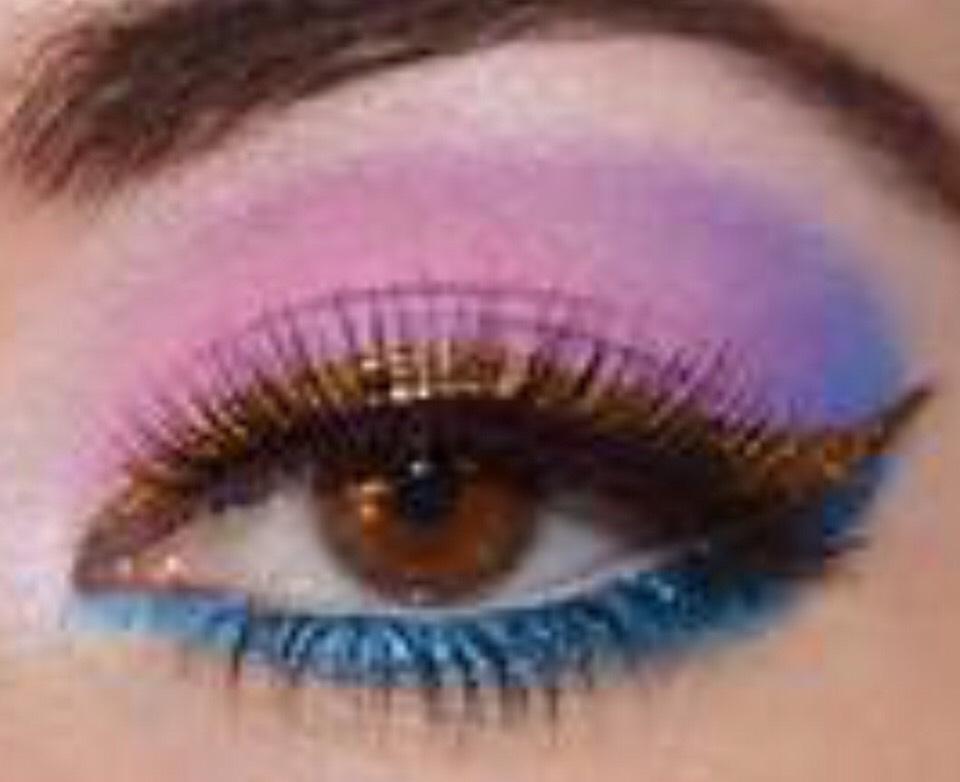 Bright blue eye makeup