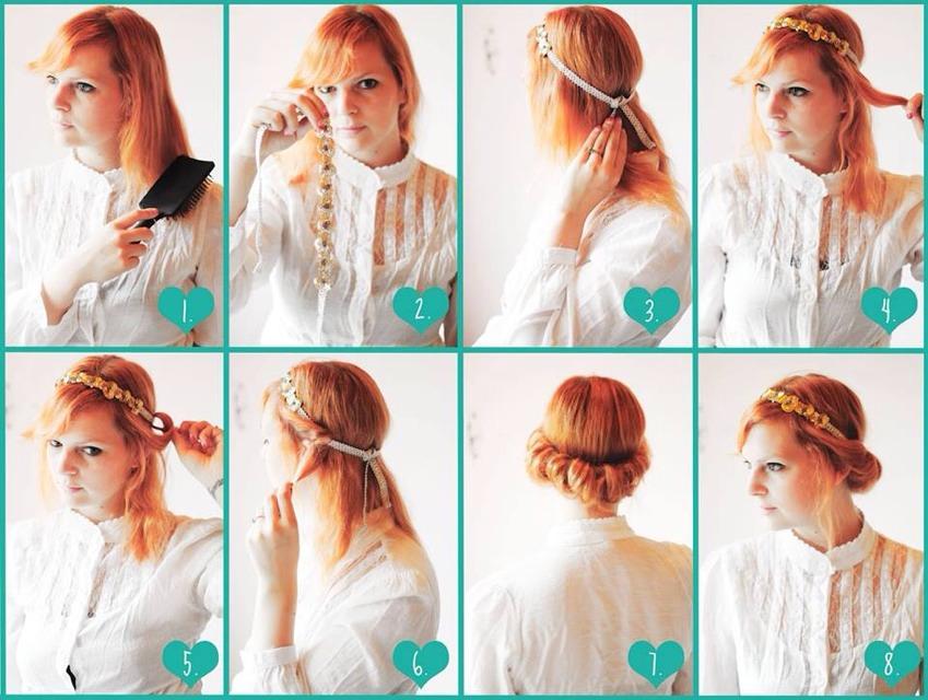Прически на длинные волосы с ободком