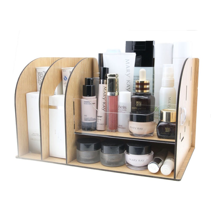 Use a desk organizer and or mini tin buckets for makeup for Mini makeup desk