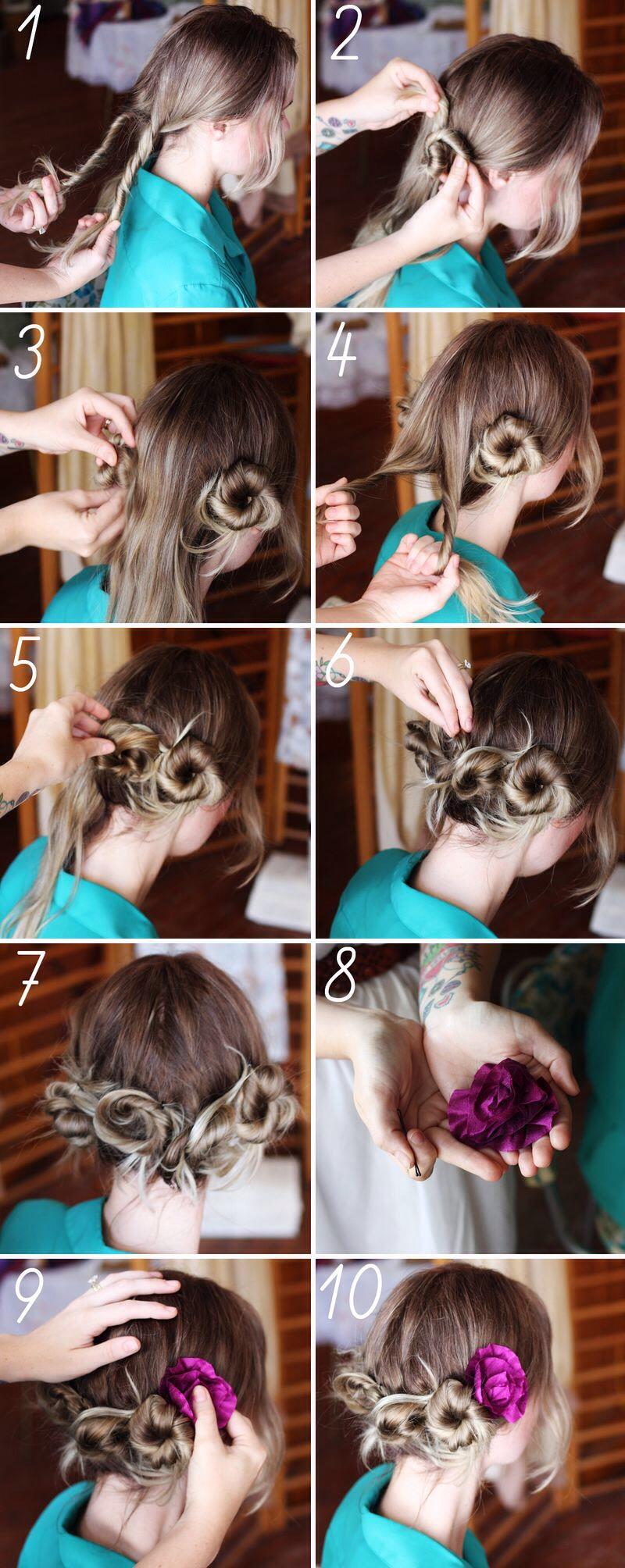 Причёски на себе своими руками видео