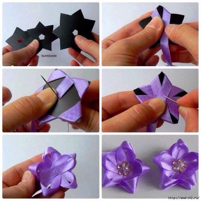 Цветки из атласных лент своими руками сложно 98