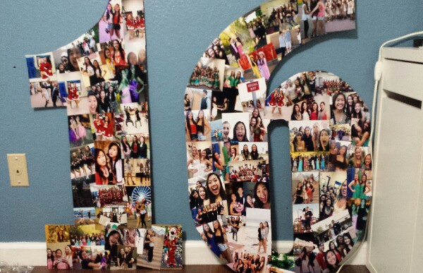 Pictures on a poster board for an anniversary