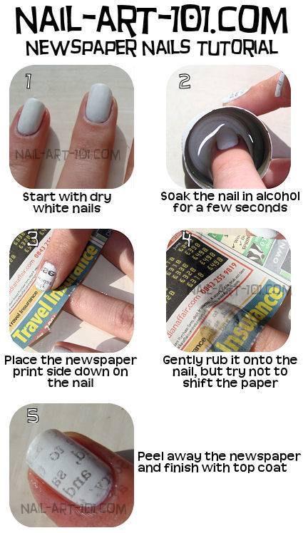 Burnt Newspaper Nail Art - Summer Nail Designs