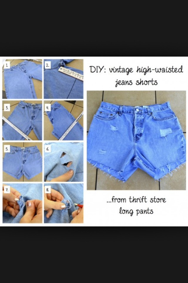 DIY High Waisted Shorts Using Old Jeans