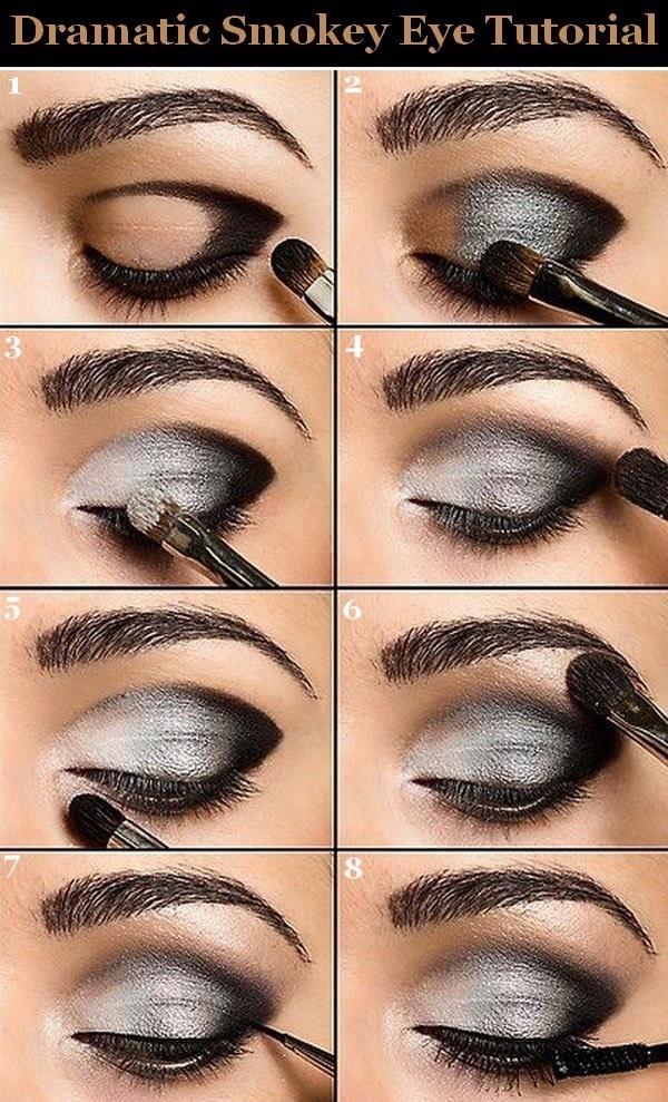 Вечерний макияж для глаз с нависшим веком пошагово