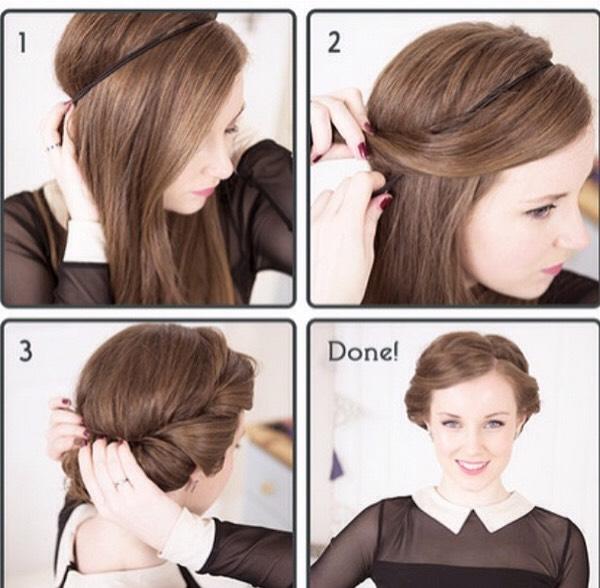 Прическа с резинкой вокруг головы как сделать