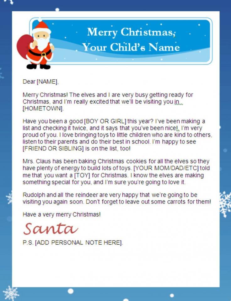 Free Letter To Santa Printable