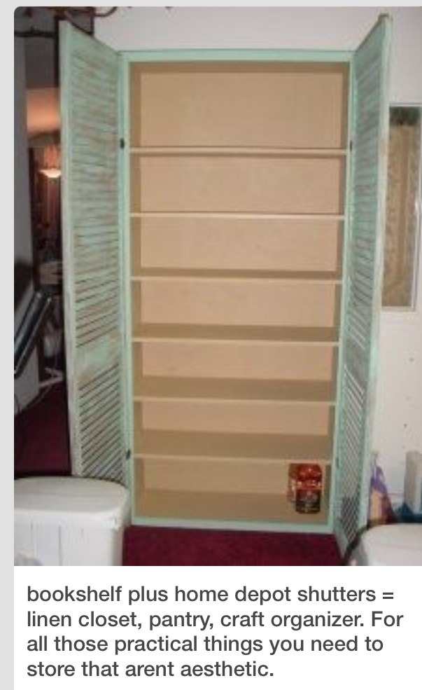 Diy Pantry Storage Cabinet Using A Book Shelf And Shutters Musely
