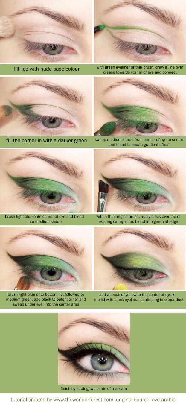 Макияж под зеленые тени