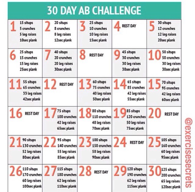 30 Day Push Up And Ab Challenge - Musely