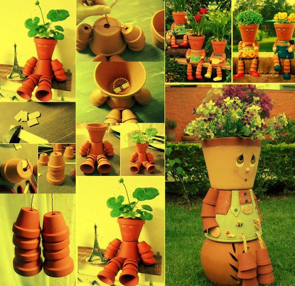Человечки из горшков для цветов