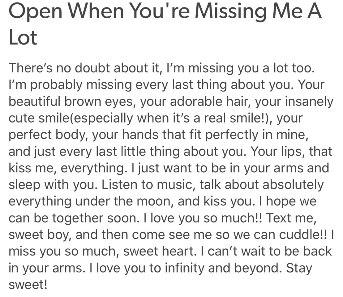 Letter Of Missing Someone You Love