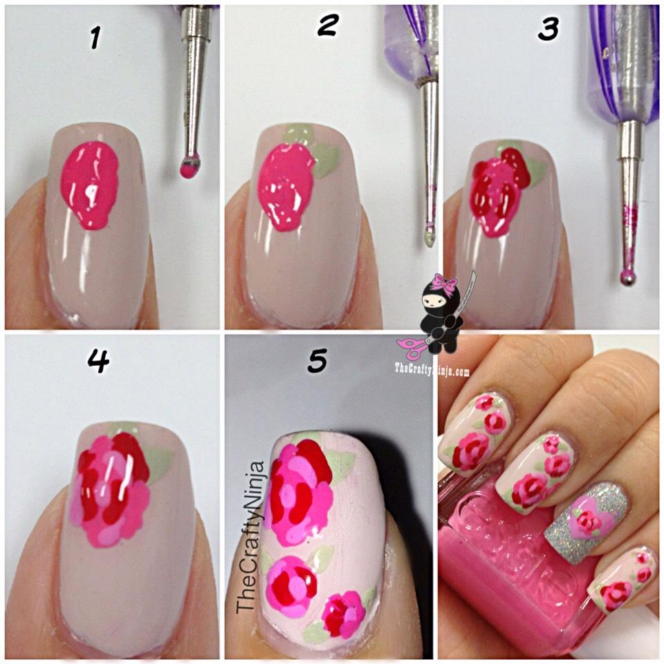 Рисуем розы на ногтях пошаговое