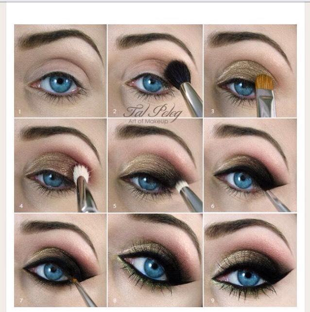 Яркий макияж для голубых глаз пошагово