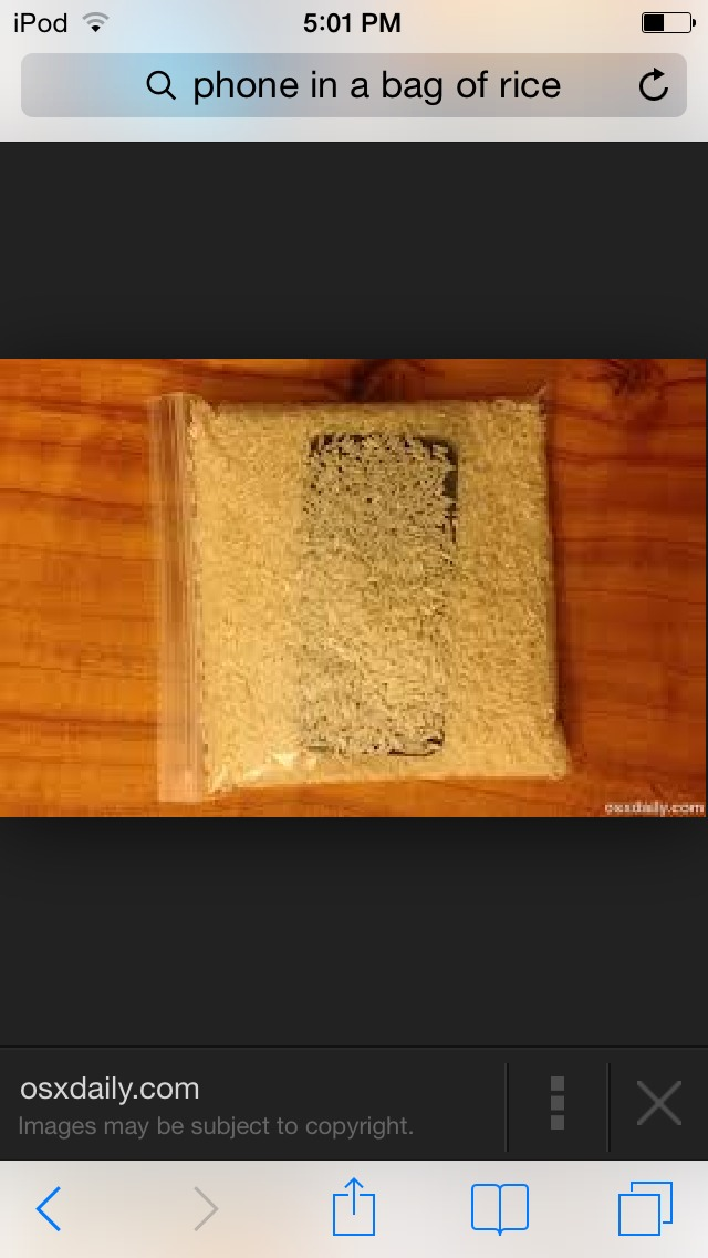 if you drop your phone in the water put it in a bag of rice musely. Black Bedroom Furniture Sets. Home Design Ideas