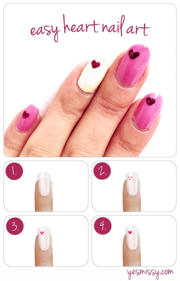 Easy Heart Nail Art... Perfect For Valentine's Day - Musely