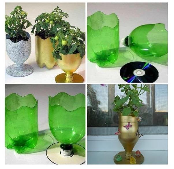 Как сделать из пластиковой бутылки вазон