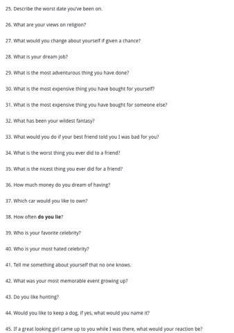 Questions to ask your boyfriend when dating