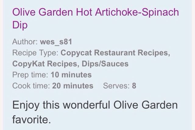 Olive garden hot artichoke spinach dip musely - Spinach artichoke dip olive garden ...