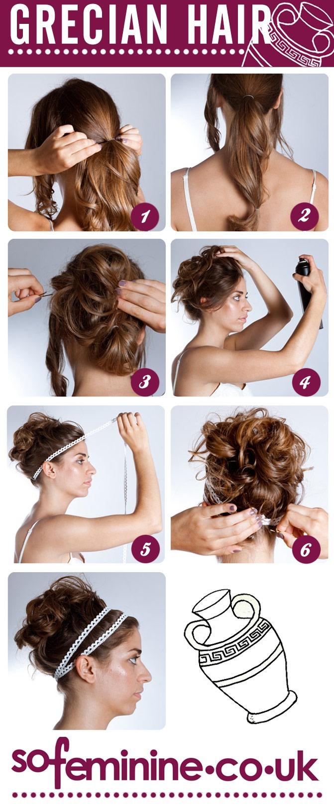 Как сделать прическу в греческом стиле с повязкой на длинные волосы